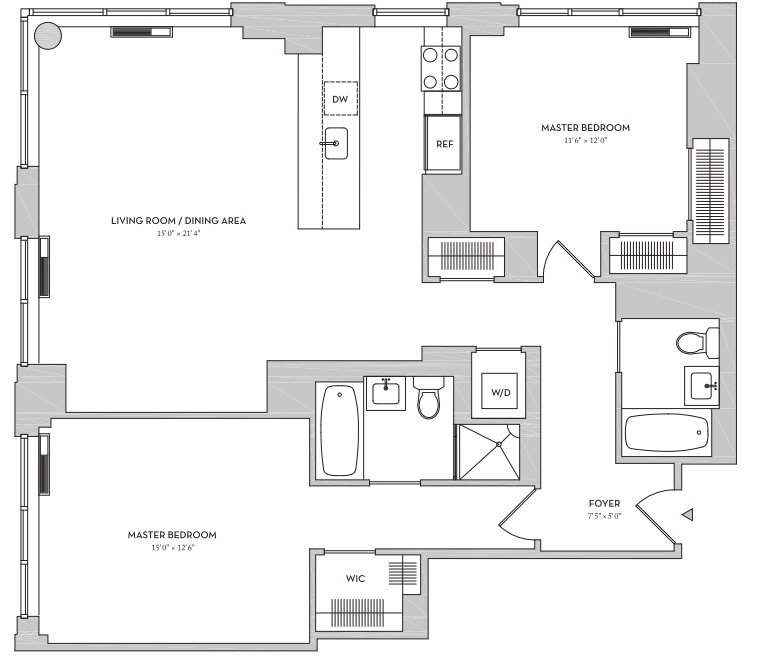 Brand New, Spacious Two Bedroom CORNER Unit In A Full Service Riverside Blvd Hi-Rise _____ *** Resort-Like Amenities!! ** Walking Distance To Parks, Lincoln Center